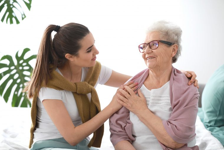 Caregiver with senior woman in-home care