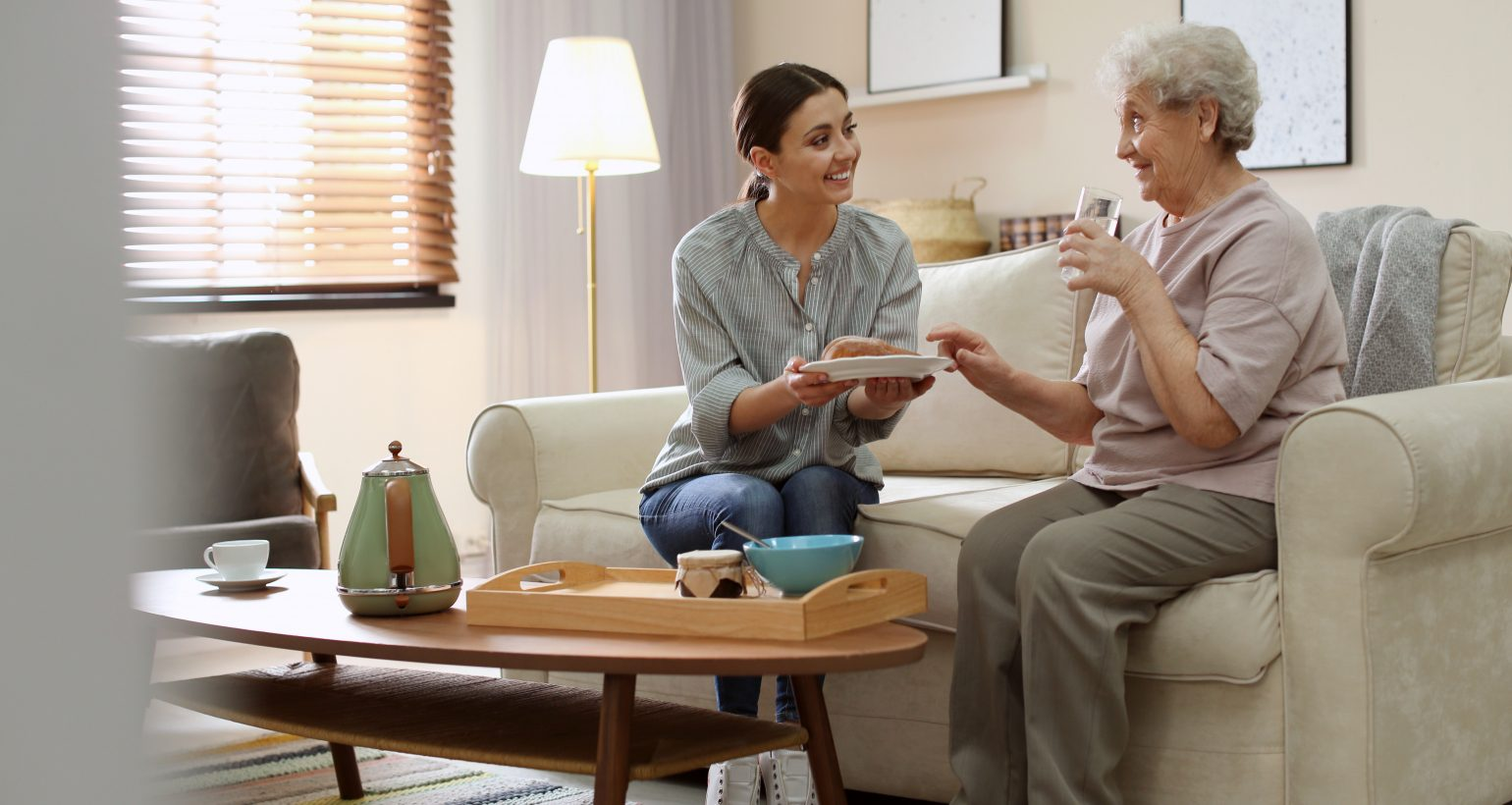 Young woman serving dinner for elderly woman in living room